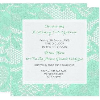 Tarjeta Fiesta de cumpleaños blanca del cordón de la verde
