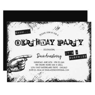 Tarjeta Fiesta de cumpleaños blanco y negro de la sorpresa