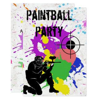 Tarjeta Fiesta de cumpleaños colorida de Paintball de los