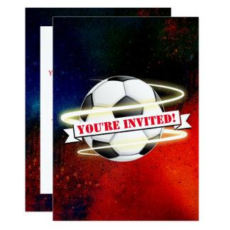 Tarjeta Fiesta de cumpleaños cósmica del balón de fútbol