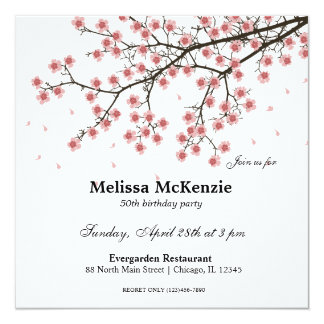 Tarjeta Fiesta de cumpleaños de la flor de cerezo