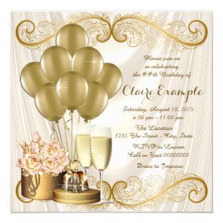 Tarjeta Fiesta de cumpleaños de la marfil y del oro de la