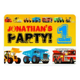 Tarjeta Fiesta de cumpleaños de los camiones de la