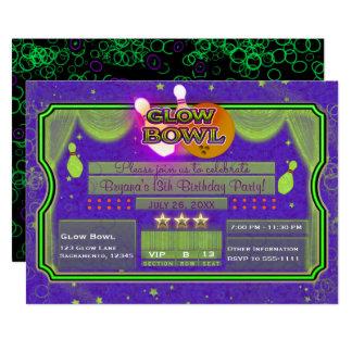 Tarjeta Fiesta de cumpleaños de neón verde y púrpura del