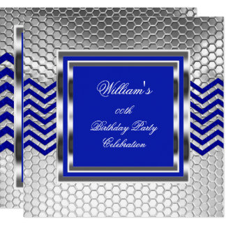 Tarjeta Fiesta de cumpleaños de plata azul elegante de