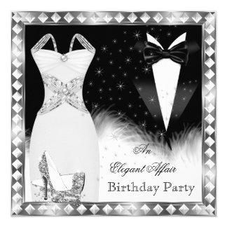 Tarjeta Fiesta de cumpleaños de plata elegante del lazo
