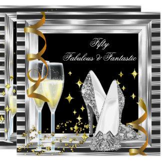 Tarjeta Fiesta de cumpleaños de plata negra de la raya 50