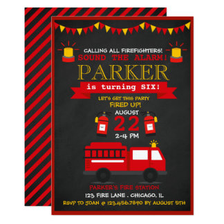 Tarjeta Fiesta de cumpleaños del bombero de la pizarra
