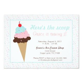 Tarjeta Fiesta de cumpleaños del helado