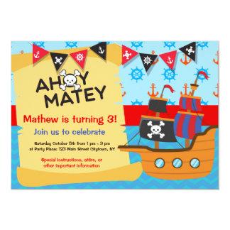 Tarjeta Fiesta de cumpleaños del pirata, Ahoy afable