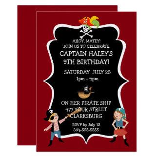 Tarjeta Fiesta de cumpleaños del pirata de los niños