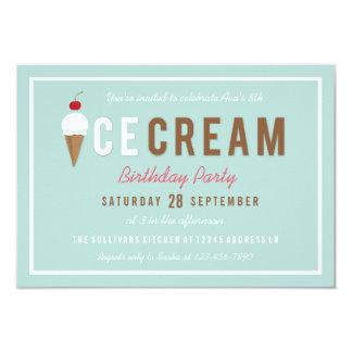 Tarjeta Fiesta de cumpleaños del verano del cono de helado