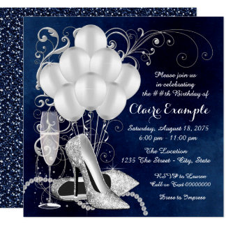 Tarjeta Fiesta de cumpleaños elegante de la plata del azul