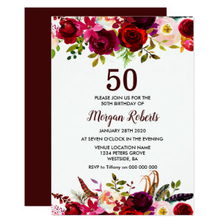 Tarjeta Fiesta de cumpleaños elegante floral de Borgoña la