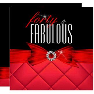 Tarjeta Fiesta de cumpleaños elegante negra roja 40