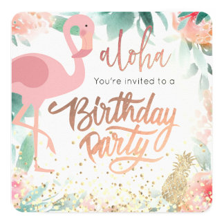 Tarjeta fiesta de cumpleaños elegante tropical del pájaro