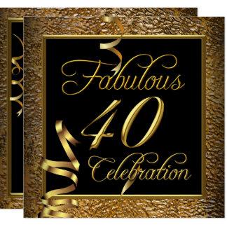 Tarjeta Fiesta de cumpleaños fabulosa del negro del oro de