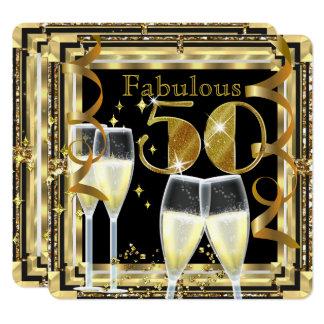 Tarjeta Fiesta de cumpleaños fabulosa del oro de 50