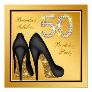 Tarjeta Fiesta de cumpleaños fabulosa del oro elegante