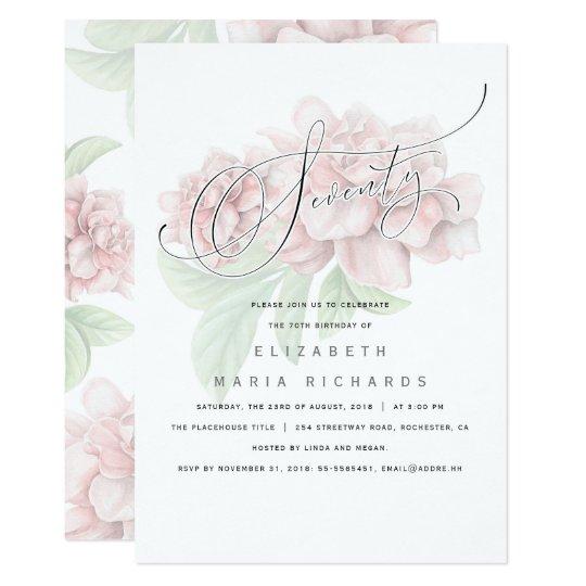 Tarjeta Fiesta de cumpleaños floral rosada elegante de la