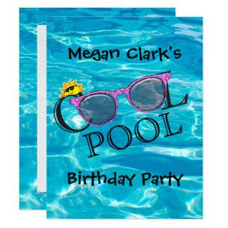 Tarjeta Fiesta de cumpleaños fresca de la piscina