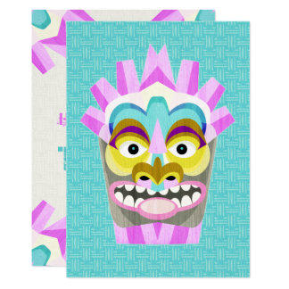 Tarjeta Fiesta de cumpleaños hawaiana de la máscara de