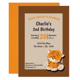 Tarjeta Fiesta de cumpleaños linda del tigre personalizada