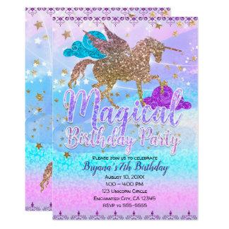 Tarjeta Fiesta de cumpleaños mágica del unicornio del