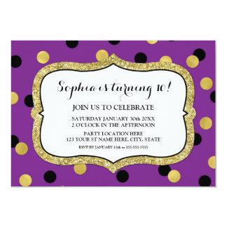 Tarjeta Fiesta de cumpleaños negra púrpura del confeti del