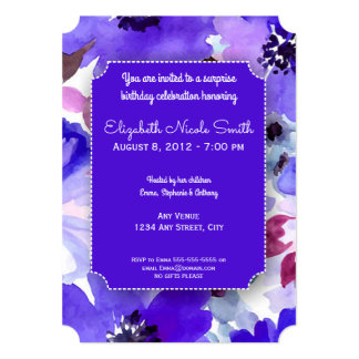 Tarjeta Fiesta de cumpleaños púrpura floral moderna de la