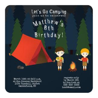 Tarjeta Fiesta de cumpleaños que acampa