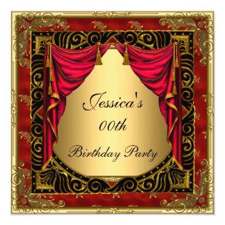 Tarjeta Fiesta de cumpleaños retra roja negra del oro
