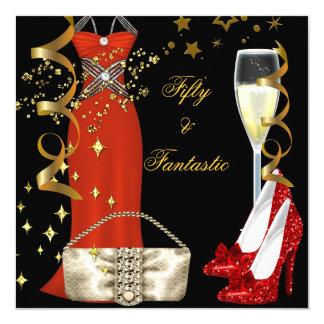 Tarjeta Fiesta de cumpleaños roja fantástica del oro del