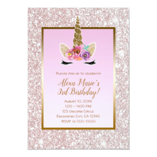 Tarjeta Fiesta de cumpleaños rosada blanca del unicornio