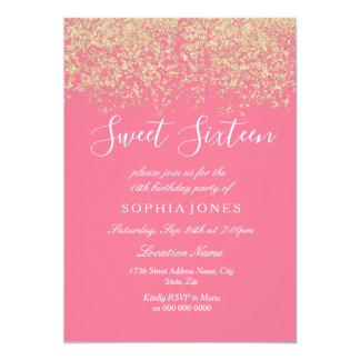 Tarjeta Fiesta de cumpleaños rosada del dulce 16 del