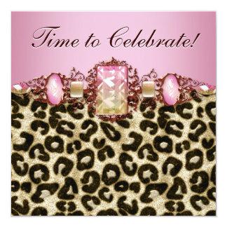 Tarjeta Fiesta de cumpleaños rosada elegante del leopardo