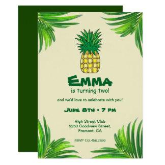 Tarjeta Fiesta de cumpleaños tropical amarilla verde de la
