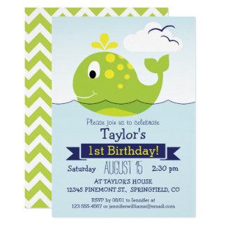 Tarjeta Fiesta de cumpleaños verde de la ballena