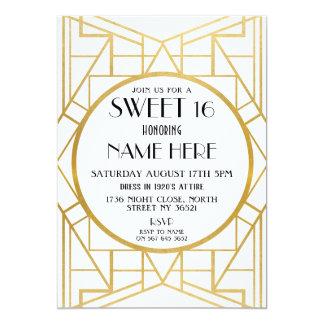 Tarjeta fiesta de Gatsby del dulce 16 del cumpleaños del