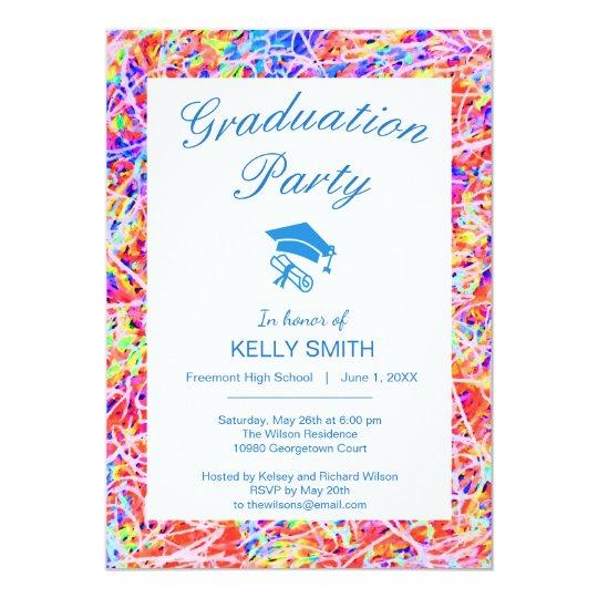 Tarjeta Fiesta de graduación abstracta colorida linda de