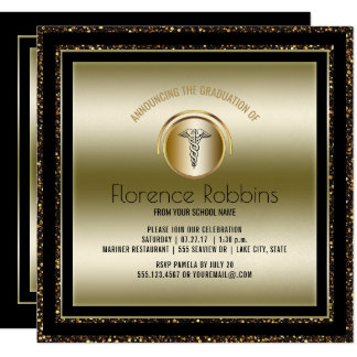 Tarjeta Fiesta de graduación de la enfermera del oro el |