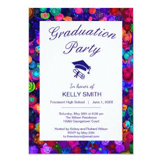 Tarjeta Fiesta de graduación espiral colorida linda del