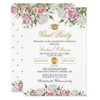 Tarjeta Fiesta de graduación floral de los lunares del oro