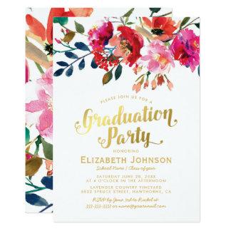 Tarjeta Fiesta de graduación floral elegante de la