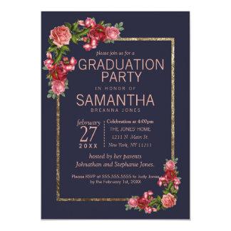Tarjeta Fiesta de graduación floral rosada del oro de los