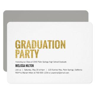 Tarjeta Fiesta de graduación, letras del oro