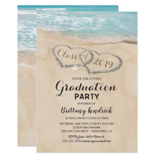 Tarjeta Fiesta de graduación tropical de la playa del
