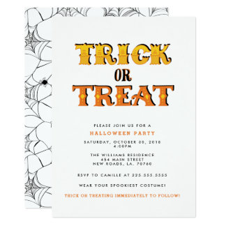 Tarjeta Fiesta de Halloween de la araña del truco o de la