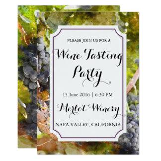 Tarjeta Fiesta de la degustación de vinos de la acuarela