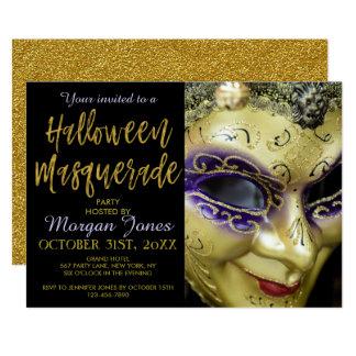 Tarjeta Fiesta de la mascarada de Halloween con tipografía